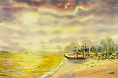 Watercolor landscape original painting colorful of seascape. And emotion in sun and cloud bottom background royalty free illustration