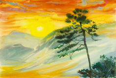 Watercolor landscape original painting colorful of sun,fog, mountain. And emotion in light yellow,orange cloud background Royalty Free Stock Photos