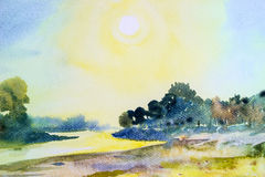 Watercolor landscape original painting colorful of sun in morning. Watercolor landscape original painting colorful of sun in morning and mountain,river in Stock Images