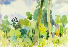 Watercolor landscape original painting colorful of tropical Forest Stock Photo