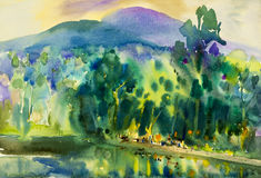Watercolor landscape original painting colorful of water tower,restaurant, mountain Royalty Free Stock Images
