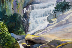 Watercolor landscape original painting colorful of waterfall. Stock Images