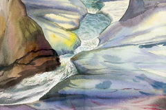 Watercolor landscape original painting colorful of waterfall. Royalty Free Stock Photo