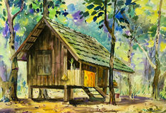 Watercolor landscape original painting colorful of wooden house. In forest and parsonage,introspection in green tree emotion background vector illustration