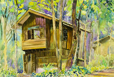 Watercolor landscape original painting colorful of wooden house. In forest and parsonage,introspection in green tree emotion background stock illustration