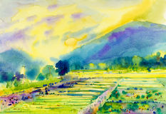 Watercolor landscape original painting of fields mountain. And emotion in cloud background Royalty Free Stock Image