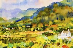 Village cottage and rice field, Watercolor painting. Watercolor landscape original painting on paper colorful of Village cottage and rice field in mountain Royalty Free Stock Images