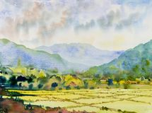 Village cottage and rice field in mountain. Watercolor landscape original painting on paper colorful of Village cottage and rice field in mountain, morning, with Royalty Free Stock Photos