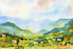 Village cottage and rice field in mountain. Watercolor landscape original painting on paper colorful of Village cottage and rice field in mountain, morning, with Stock Images