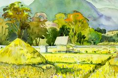 Painting village and rice field in the morning. Watercolor landscape original painting on paper colorful of village and rice field in the morning, with sky view Royalty Free Stock Photo