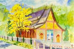 Watercolor landscape original painting temple of golden Tree flower Stock Image