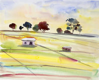 Watercolor landscape painting colorful of cottage and rice field. Watercolor landscape original painting on paper colorful of cottage and rice field in the Stock Photography