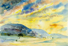 Watercolor landscape painting colorful of hillside village Stock Images