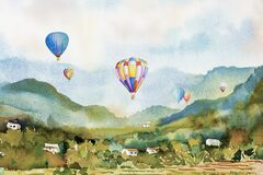 Free Watercolor Landscape Painting Colorful Of Hot Air Balloon On Mountain Royalty Free Stock Photography - 213072337