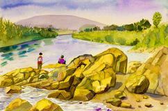 Watercolor landscape  painting  colorful of people fishing on the river. Watercolor landscape original painting on paper colorful of people fishing on the river Stock Photography