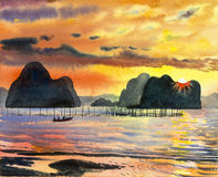 Watercolor landscape painting colorful of seascape and emotion. In yellow,orange background .Original painting stock illustration