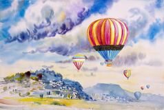 Watercolor landscape painting colorful of tourism family in balloon