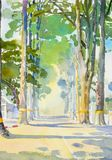 Watercolor landscape painting colorful of Tunnel trees. Big size and street view countryside and emotion in rural society, nature beauty background. Hand Royalty Free Stock Photo