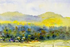Watercolor landscape painting  colorful of village and rice field. Watercolor landscape original painting on paper colorful of village and rice field in the Royalty Free Stock Images