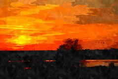 Watercolor landscape painting Stock Photos