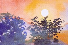Watercolor landscape painting of sunset above the tree. Watercolor landscape painting yellow, orange color of sunset above the tree with the mountain at Royalty Free Stock Photography