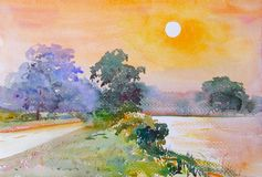Watercolor landscape painting of sunset near the marsh at countr. Yside with big tree by the road in the village and emotion in sun light background, Original royalty free illustration