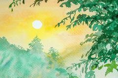 Watercolor landscape painting yellow, orange color of sunrise. Watercolor landscape painting yellow, orange color of sunrise above the tree with the mountain at Royalty Free Stock Image