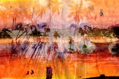 Watercolor landscape with palm trees retro Stock Photos
