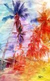 Watercolor landscape with palm trees retro Stock Images