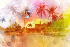 Watercolor landscape with palm trees retro Stock Image