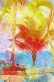 Watercolor landscape with palm trees retro Royalty Free Stock Photography