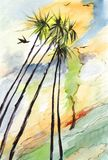 Palm trees in sunny day. Watercolor landscape, palm trees in sunny day Stock Photo