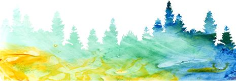 Watercolor landscape with pine and fir trees royalty free illustration