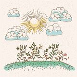 Watercolor landscape of plants in hill in sunny day. Vector illustration Royalty Free Stock Image
