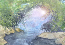 Watercolor landscape with portal. Royalty Free Stock Photos