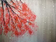 Free Watercolor Landscape Red Tree Stand Alone And Leaf Falling To The Wind In Season. Traditional Oriental Ink Asia Art Style Royalty Free Stock Photos - 208985748
