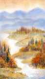 Watercolor landscape. River in the autumn forest royalty free illustration
