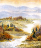 Watercolor landscape. River in the autumn forest Stock Photo