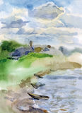 Watercolor landscape with river boats and sky Stock Photography
