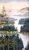 Watercolor landscape. River of spruce forest Royalty Free Stock Images