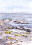 Watercolor landscape with rocky shore of sea or lake Royalty Free Stock Photos