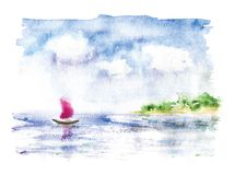 Watercolor landscape with sailing boat in the sea Royalty Free Stock Photography