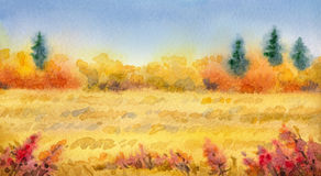 Watercolor landscape of series of. Colorful handmade watercolor on paper backdrop with space for text. Series Different seasons. Gray rain clouds on overcast day Stock Photography