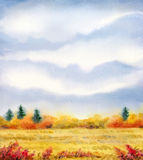 Watercolor landscape of series of. Colorful handmade vivid drawing on paper backdrop with space for text. Series `Different seasons`. Gray rain cloud on overcast Royalty Free Stock Photography