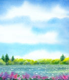 Watercolor landscape of series of Royalty Free Stock Photo