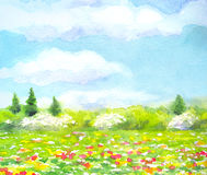 Watercolor landscape of series of Steppe in different seasons. Stock Photo