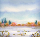 Watercolor landscape of series of Steppe in different seasons Stock Photography