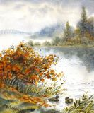 Watercolor landscape. Sketch of the autumn lake stock illustration