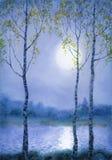 Watercolor landscape. Spring birch trees near the river vector illustration
