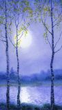 Watercolor landscape. Spring birch trees near the river Stock Image